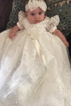 Vestito di battesimo Fiori Gioiello Autunno Pizzo Formale Principessa