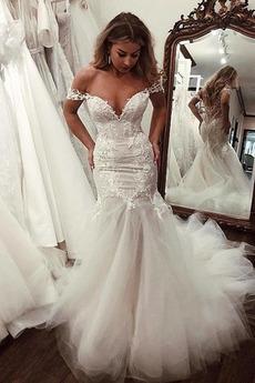 Vestito da sposa Sirena Fuori dalla spalla Merletto Pizzo Maniche corte