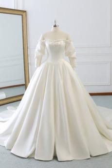 Vestito da nozze Maniche lunghe Formale A-line Maglietta Coda a Strascico Cattedrale