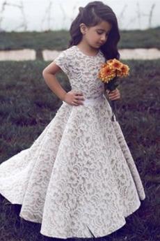 Vestito da fiore ragazza Maniche corte Maglietta Spazzola Treno