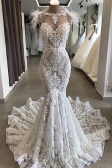 Vestito da nozze Gioiello Inverno Sovrapposizione di pizzo Drappeggiato