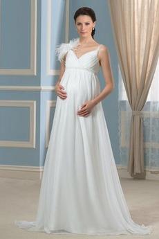 Vestito da nozze Impero Elegante Lunghezza piano Chiffon Senza maniche