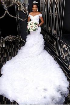 Vestito da nozze Maniche cotta Maniche corte Treno reale Fuori dalla spalla
