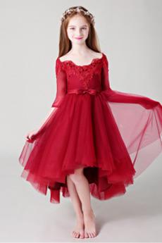 Vestito da fiore ragazza Pizzo Asimmetrico Fuori dalla spalla
