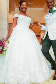 Vestito da sposa Maniche corte Fuori dalla spalla Chiesa Vita naturale