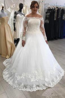 Vestito da nozze Maniche lunghe Strascico spazzata Perline Chiusura lampo