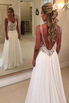 Vestito da sposa Senza maniche Sovrapposizione di pizzo Senza schienale