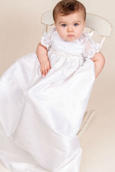 Abito di battesimo Pudica Collo alto Vita dell'Impero Merletto