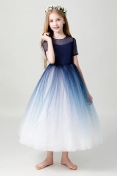 Vestito dalla bambina Maniche corte colletto Peter pan Elegante