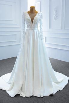 Vestito da sposa Maniche lunghe Scollo a v Perle Autunno A-line