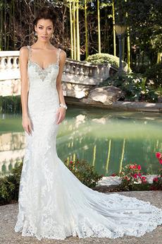 Vestito da sposa Sirena Scintillare Tulle Lungo Senza schienale