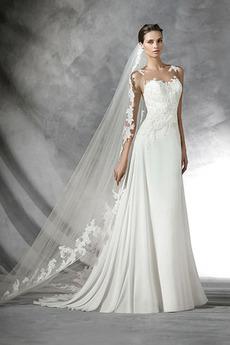 Vestito da nozze Con il velo Vita naturale Strascico spazzata