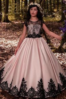 Vestito da fiore ragazza Maniche corte Gioiello Matrimonio Senza schienale