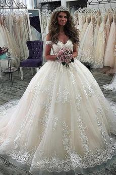 Vestito da nozze Maniche corte Vita naturale Annata Senza schienale