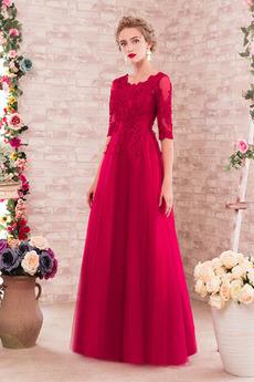 Vestito da damigella d'onore Vita naturale Gioiello Elegante Maniche mezze