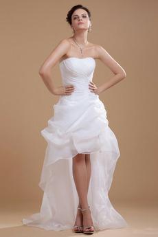 Vestito da nozze Asimmetrico Asimmetrico Senza maniche Corsetto pieghettato