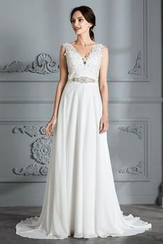 Vestito da sposa Medio Spiaggia Elegante Vita naturale Senza maniche