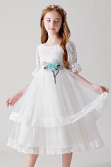 Vestito da fiore ragazza Gioiello A-line Bowknot Vita naturale