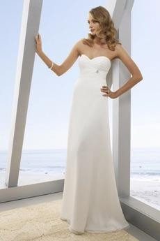 Vestito da nozze Impero Perline Poco costosi Centro dietro All Aperto