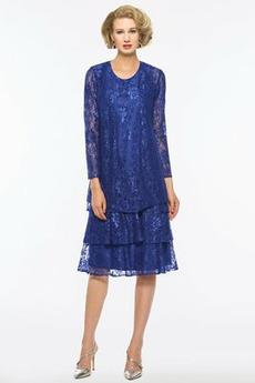 Madre dei vestito da sposa Pizzo Elegante A-line Due pezzi Maniche lunghe