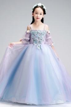 Vestito dalla bambina Formale Swing Satin Fiori Cerimonia A-line