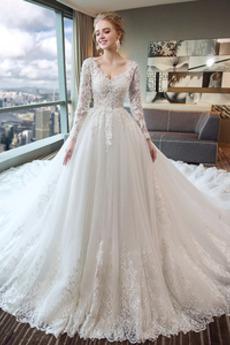 Vestito da sposa Inverno Pizzo Maniche illusione Profondo scollo a v