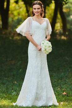 Vestito da nozze Maniche corte Queen Anne Perline Lungo Dropped Waist