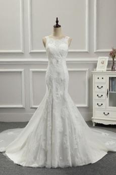Vestito da sposa Medio lussi Allacciare Stretto Treno watteau