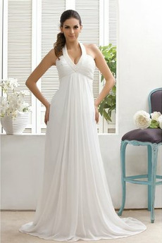 Vestito da sposa Chiffon Impero Chiusura lampo Senza maniche Corpo a clessidra