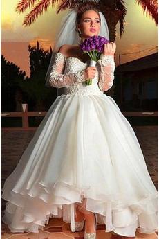 Vestito da sposa Asimmetrico Vita naturale Increspato a festoni