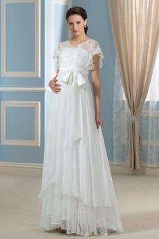 Vestito da nozze Asimmetrico Taglie Forti Maniche allentate Chiusura lampo