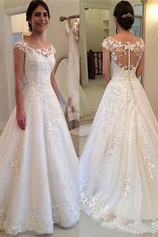 Vestito da sposa Maniche corte Spazzola Treno Paletta Pizzo Annata
