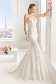 Vestito da sposa Scollo a v Chiesa Cameriera di mare lussi Chiusura lampo