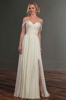 Vestito da sposa Maniche corte Senza schienale Chiffon Fuori dalla spalla