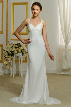 Vestito da sposa Sirena Puro Back Senza maniche Spazzare treno