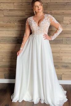 Vestito da nozze Maniche lunghe Puro Back Vita naturale Chiffon