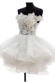 Vestito da sposa Breve Organza Puro Back Abito di sfera Affascinante