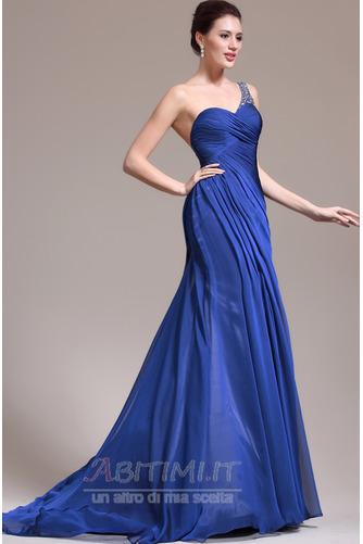 Vestito da sera Sirena Senza maniche Elegante Singola spalla Coda a Strascico Cappella - Pagina 4