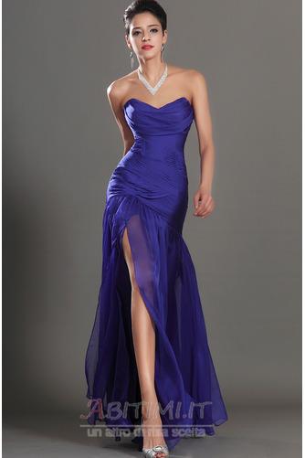 Vestito da ballo Blu notte Lunghezza piano Tessuto di maglia Senza spalline - Pagina 1
