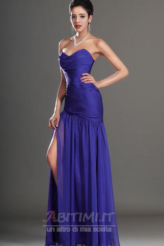 Vestito da ballo Blu notte Lunghezza piano Tessuto di maglia Senza spalline - Pagina 4