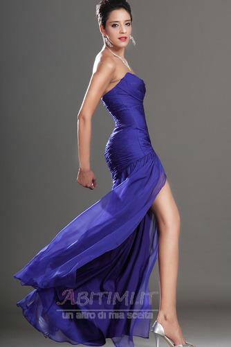 Vestito da ballo Blu notte Lunghezza piano Tessuto di maglia Senza spalline - Pagina 6