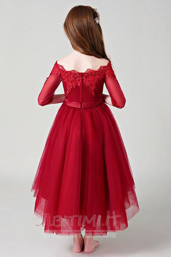 Vestito da fiore ragazza Pizzo Asimmetrico Fuori dalla spalla - Pagina 2