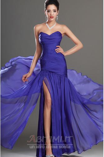 Vestito da ballo Blu notte Lunghezza piano Tessuto di maglia Senza spalline - Pagina 2