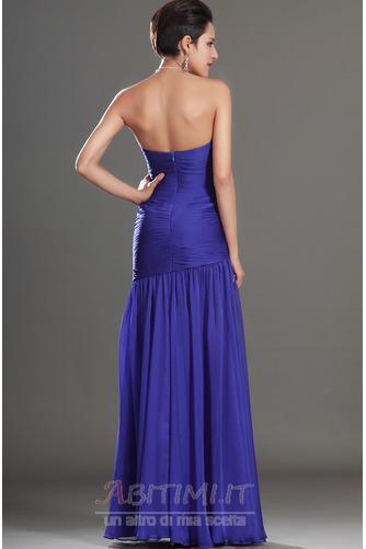 Vestito da ballo Blu notte Lunghezza piano Tessuto di maglia Senza spalline - Pagina 7