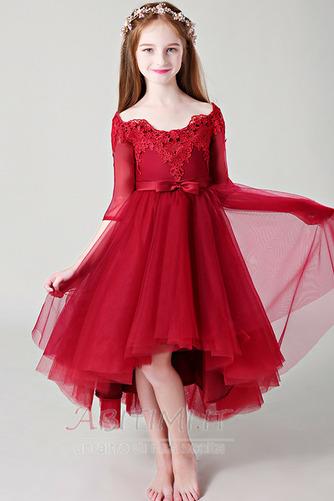 Vestito da fiore ragazza Pizzo Asimmetrico Fuori dalla spalla - Pagina 1