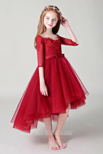 Vestito da fiore ragazza Pizzo Asimmetrico Fuori dalla spalla - Pagina 3