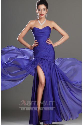 Vestito da ballo Blu notte Lunghezza piano Tessuto di maglia Senza spalline - Pagina 3