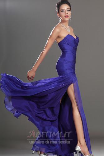 Vestito da ballo Blu notte Lunghezza piano Tessuto di maglia Senza spalline - Pagina 5